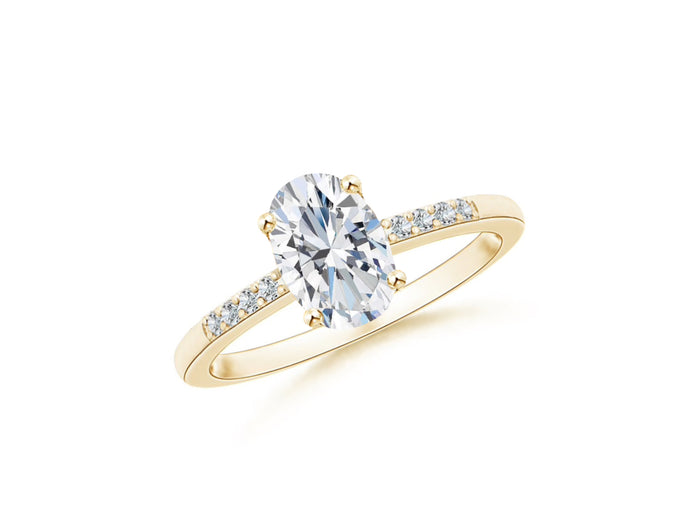 14k Oval White Topaz and Diamonds April Birthstone Ring