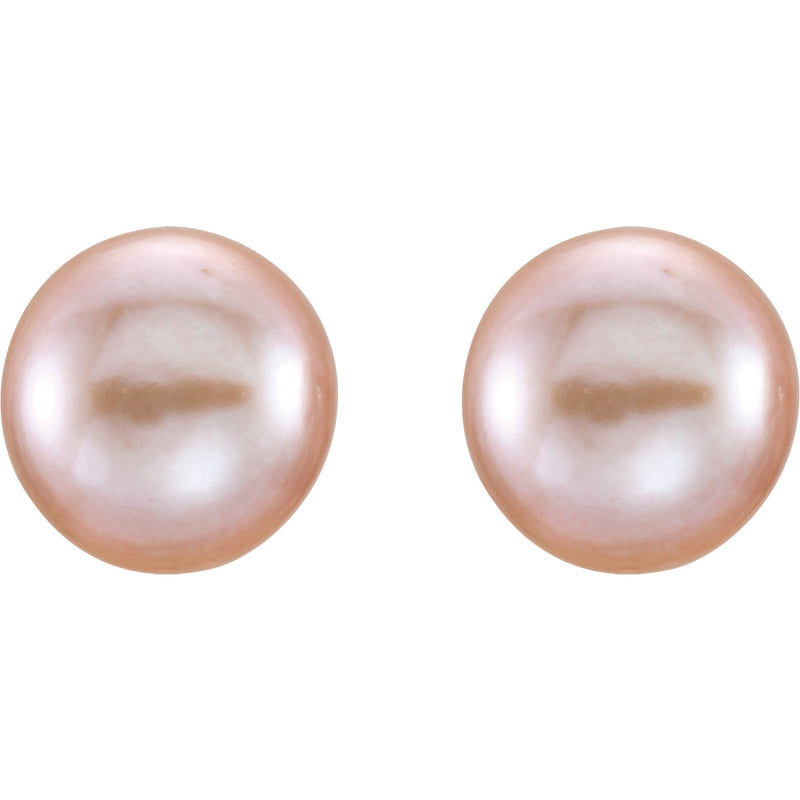 14k Yellow Gold and Pink Pearl Stud Earrings