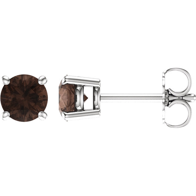 14k Round Smoky Quartz June Stud Earrings