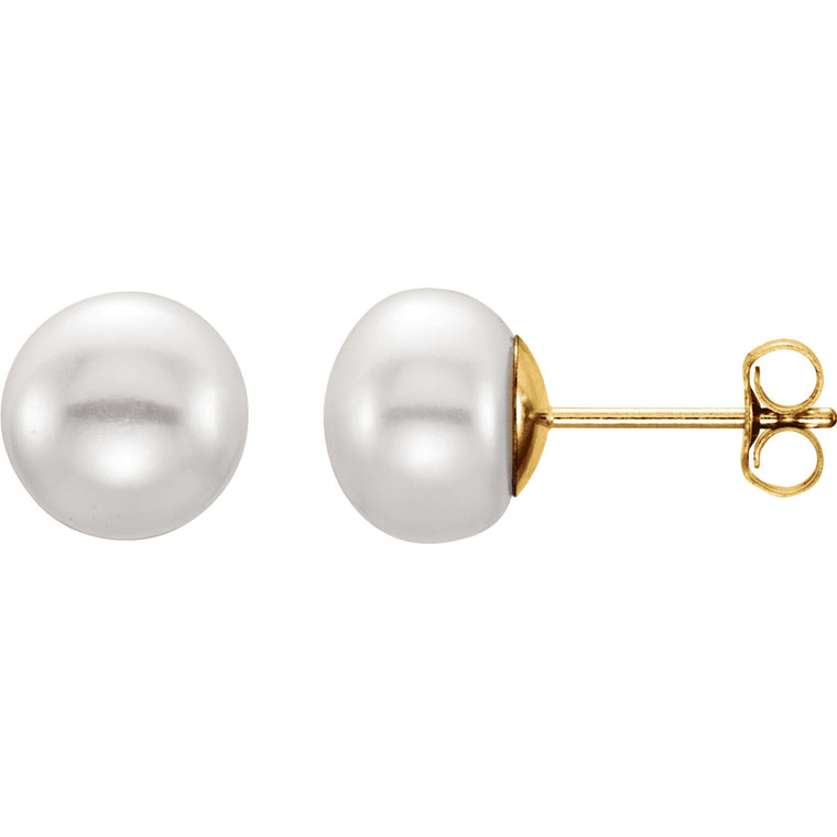 14k Yellow Gold and White Pearl Stud Earrings