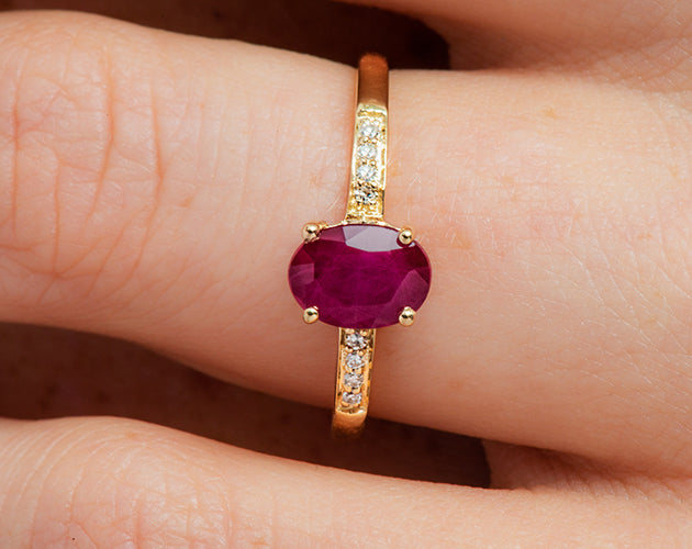 14k Oval Ruby and Diamonds July Birthstone Ring