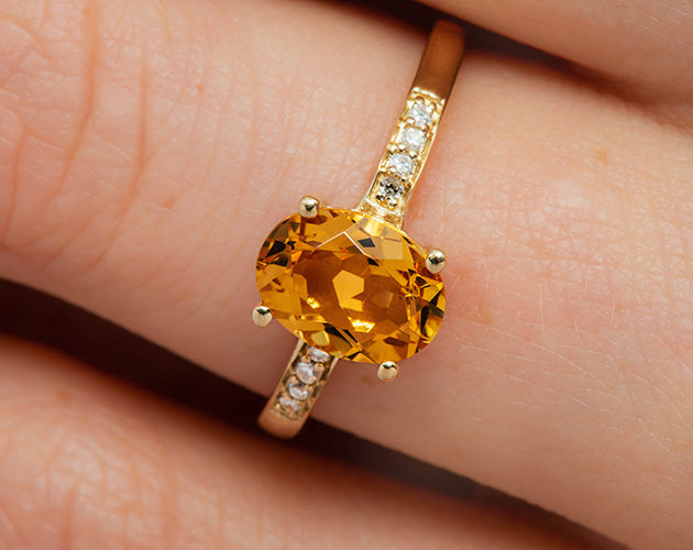 14k Oval Citrine and Diamonds November Birthstone Ring