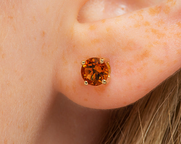 14k Round Citrine November Stud Earrings