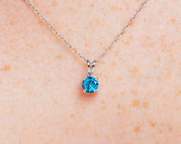 14k Gold and Swiss Blue Topaz December Birthstone Solitaire Necklace