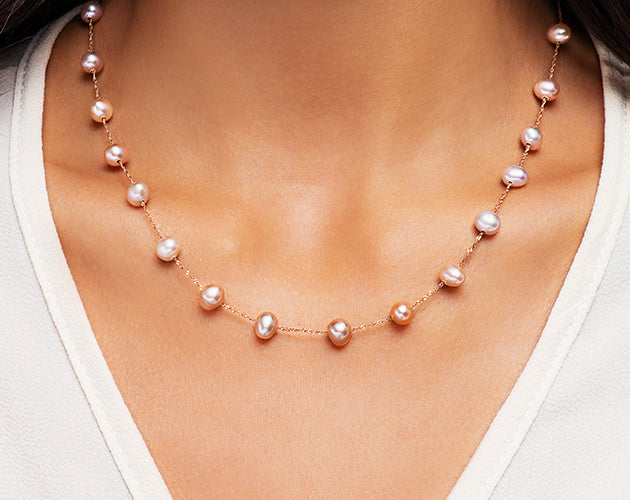 14k Rose Gold and Pink Freshwater Pearl Station Necklace