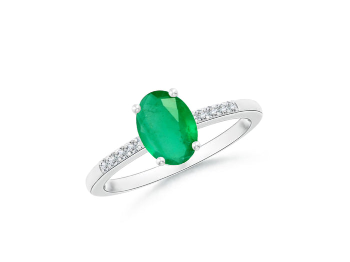 14k Oval Emerald and Diamonds May Birthstone Ring
