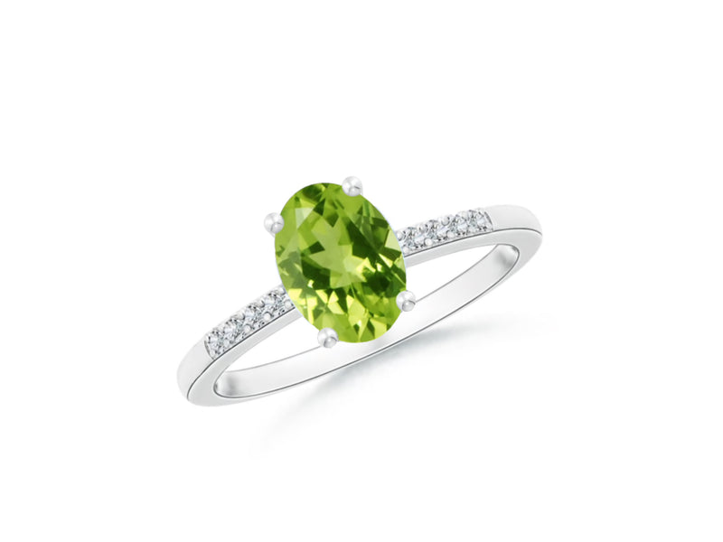 14k Oval Peridot and Diamonds August Birthstone Ring