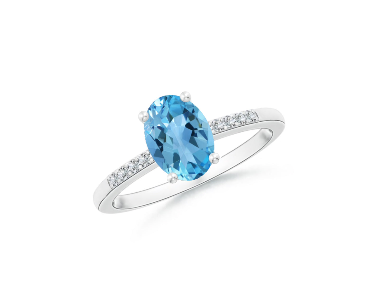 14k Oval Swiss Blue Topaz and Diamonds December Birthstone Ring