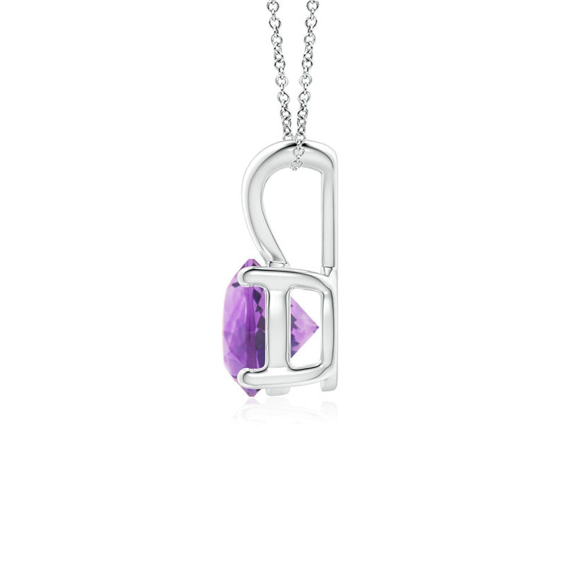 14k Gold and Amethyst February Birthstone Solitaire Necklace
