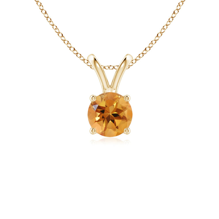 14k Gold and Citrine November Birthstone Solitaire Necklace