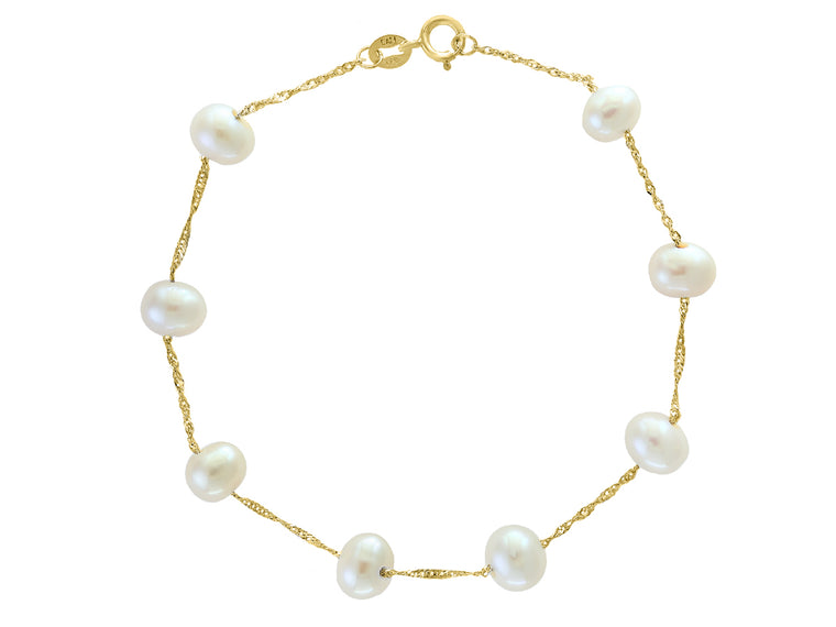 14k Yellow Gold and White Freshwater Pearl Station Bracelet