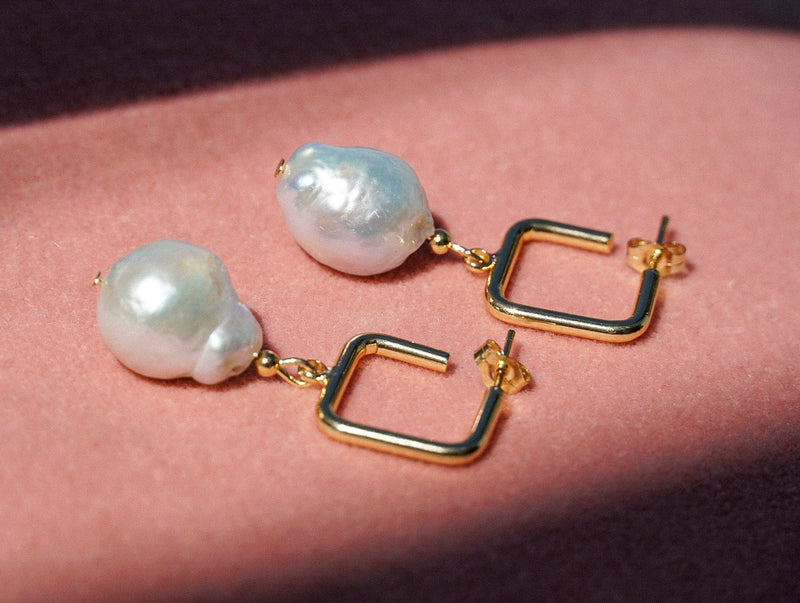 Square Hoop Pearl Earrings