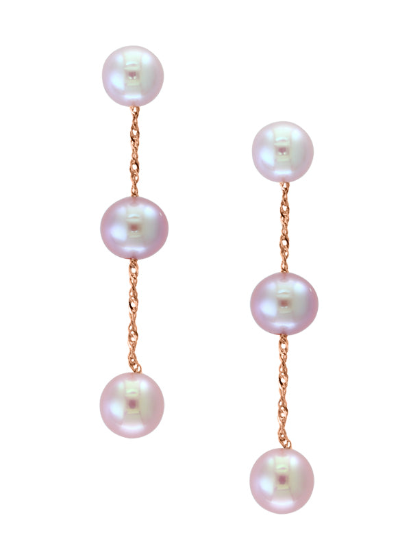 14k Rose Gold and Pink Freshwater Pearl Drop Earrings