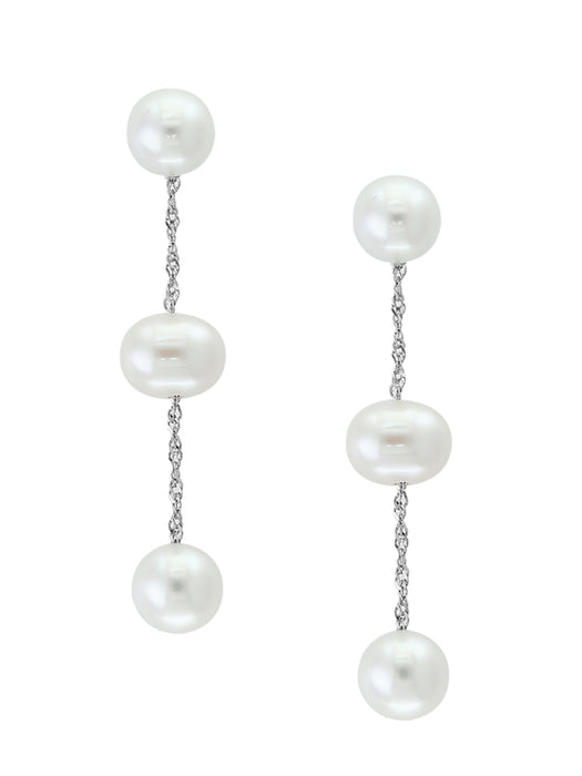 14k White Gold and White Freshwater Pearl Drop Earrings