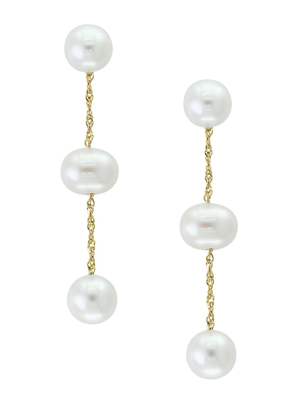 14k Yellow Gold and White Freshwater Pearl Drop Earrings