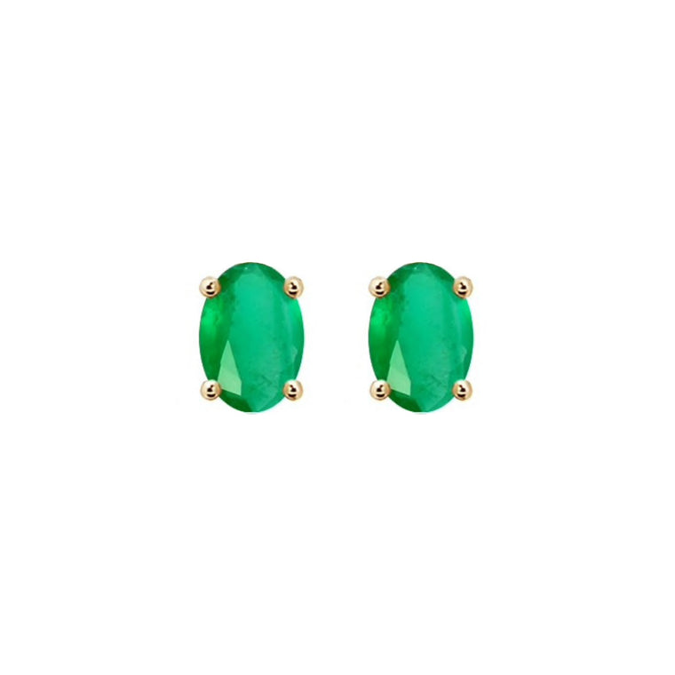 14k Oval Emerald May Stud Earrings