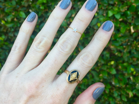Vintage Pi Beta Phi 10k Gold Onyx Cocktail Ring