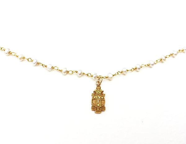 Vintage Delta Gamma Crest and Gemstone Necklace