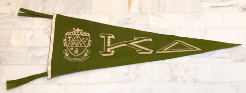 Vintage Kappa Delta 1940's Large Green Pennant