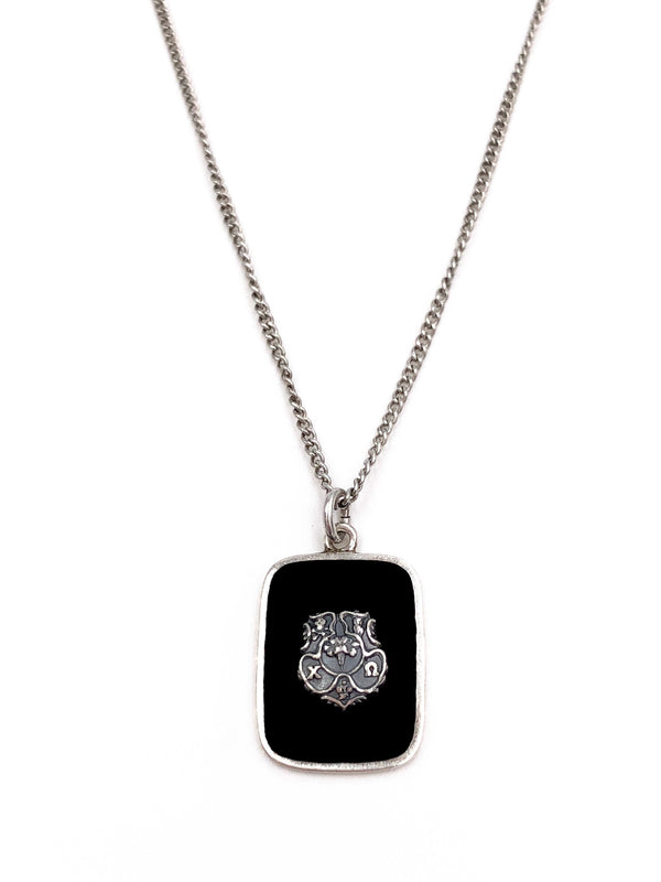 Vintage Chi Omega Sterling Black Onyx Necklace
