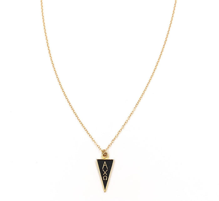 Vintage Alpha Chi Omega Black Enamel Pennant Necklace