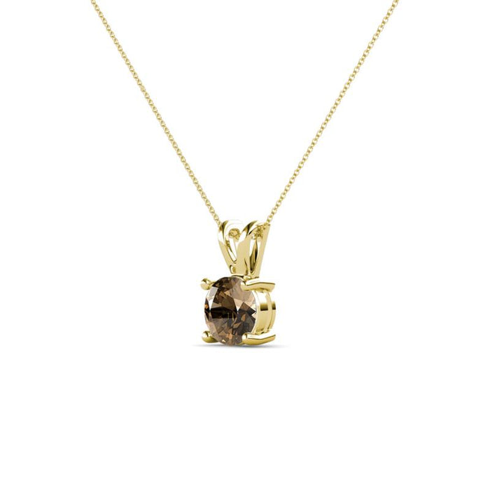 14k Gold and Smoky Quartz June Birthstone Solitaire Necklace