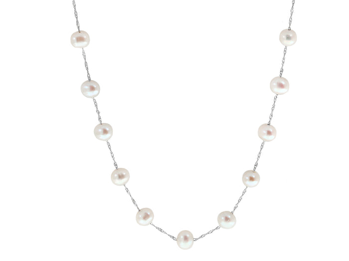 14k White Gold and White Freshwater Pearl Station Necklace