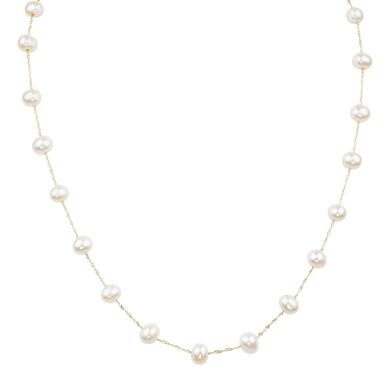 14k Yellow Gold and White Freshwater Pearl Station Necklace