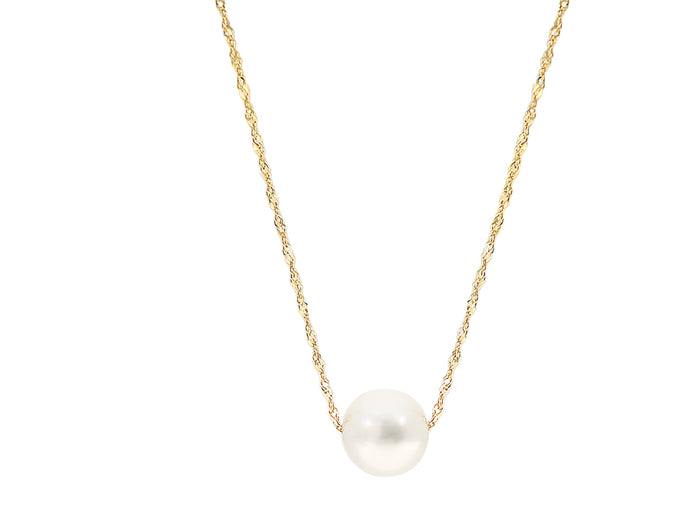 14k Yellow Gold and Single White Freshwater Pearl Necklace