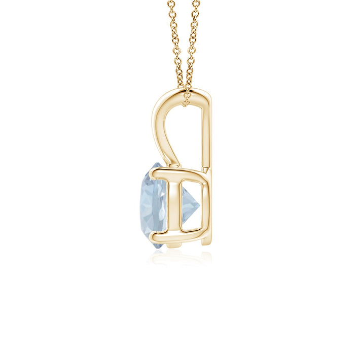 14k Gold and Aquamarine March Birthstone Solitaire Necklace