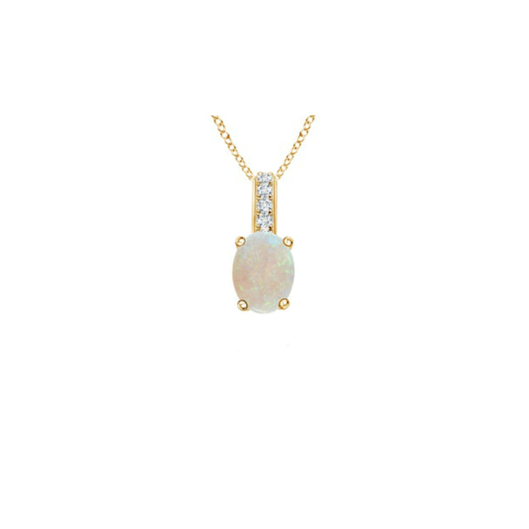 14k Oval Opal and Diamonds October Birthstone Necklace