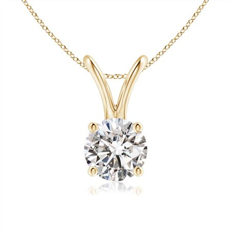 14k Gold and White Topaz April Birthstone Solitaire Necklace