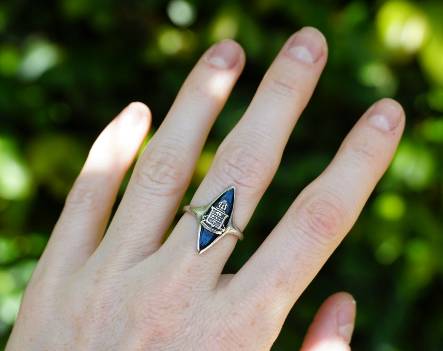Vintage Alpha Chi Omega Marquise Cocktail Ring