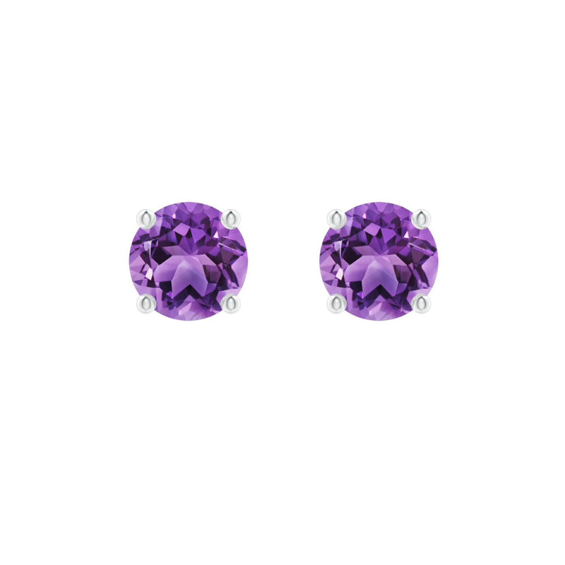 14k Round Amethyst February Birthstone Stud Earrings