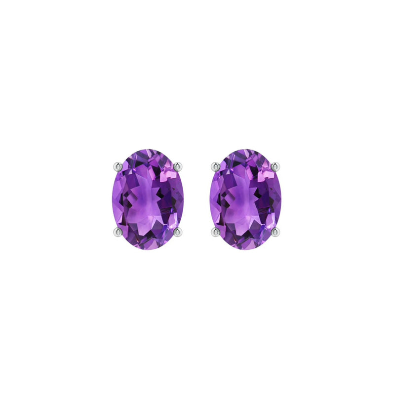 14k Oval Amethyst February Stud Earrings