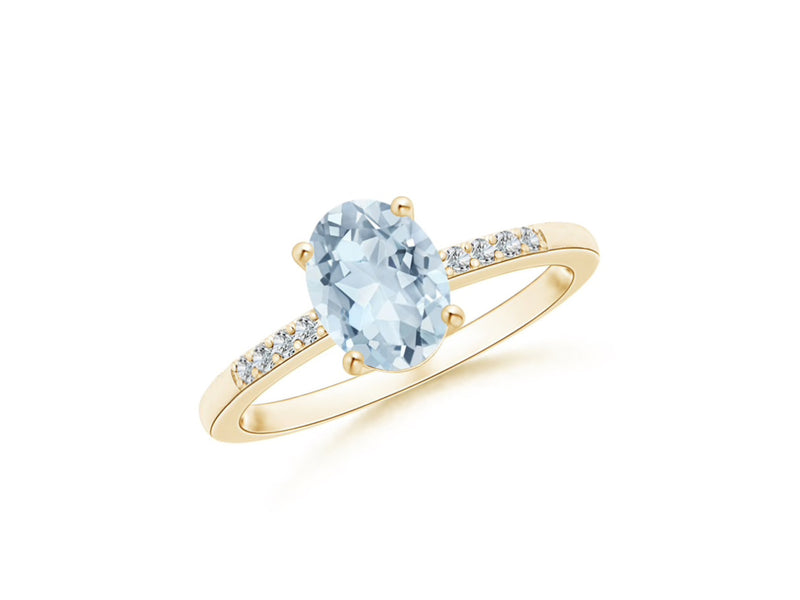 14k Oval Aquamarine and Diamonds March Birthstone Ring
