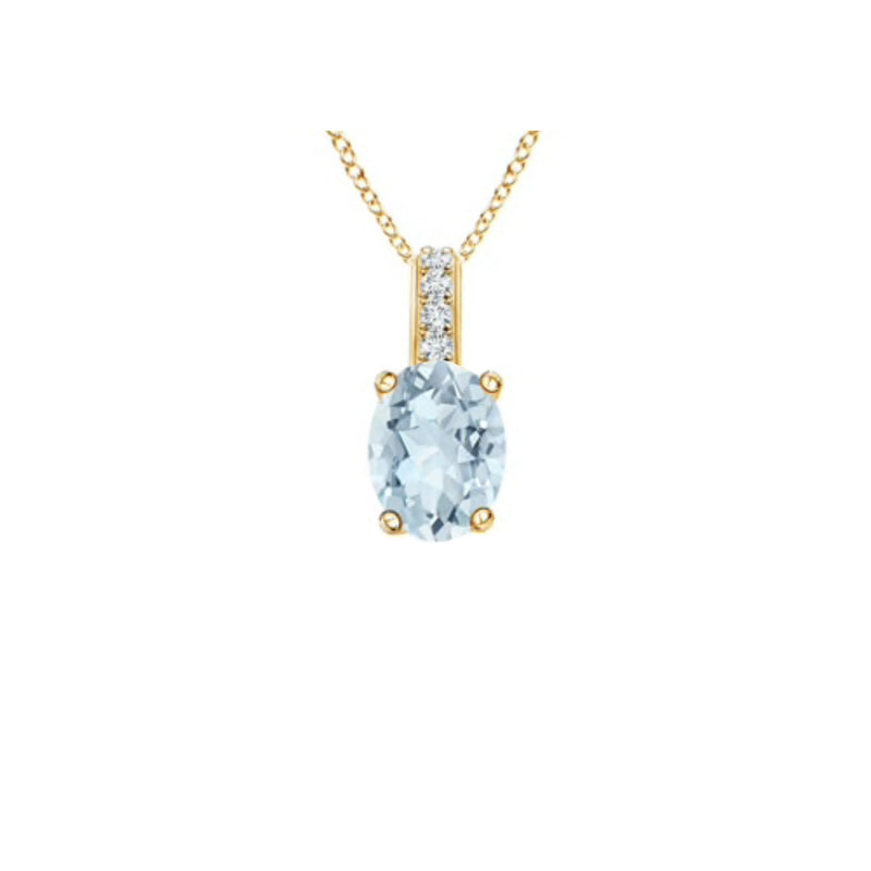 14k Oval Aquamarine and Diamonds March Birthstone Necklace