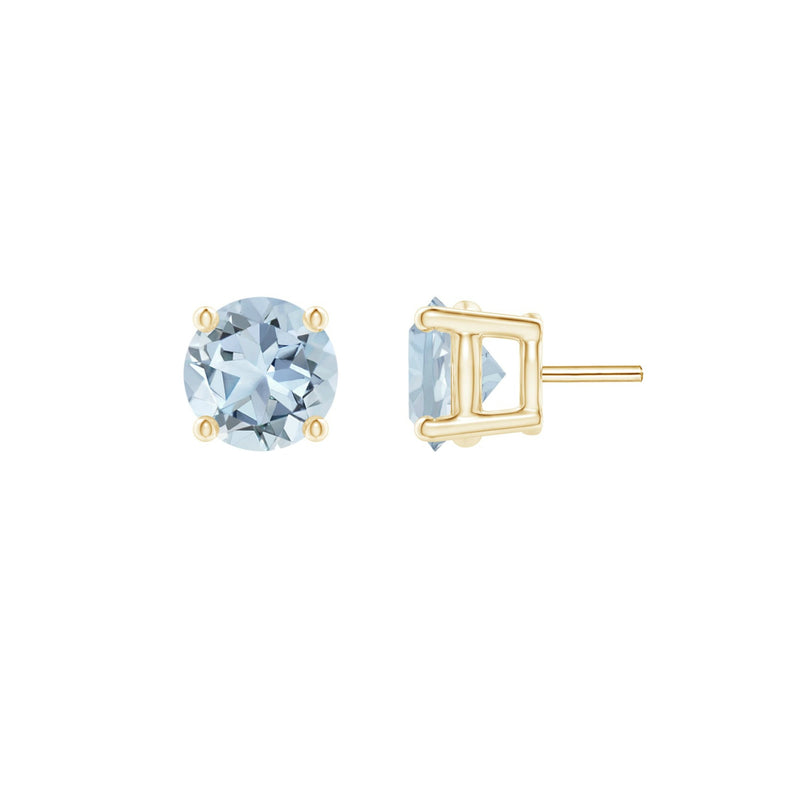14k Round Aquamarine March Stud Earrings