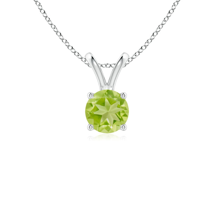 14k Gold and Peridot August Birthstone Solitaire Necklace
