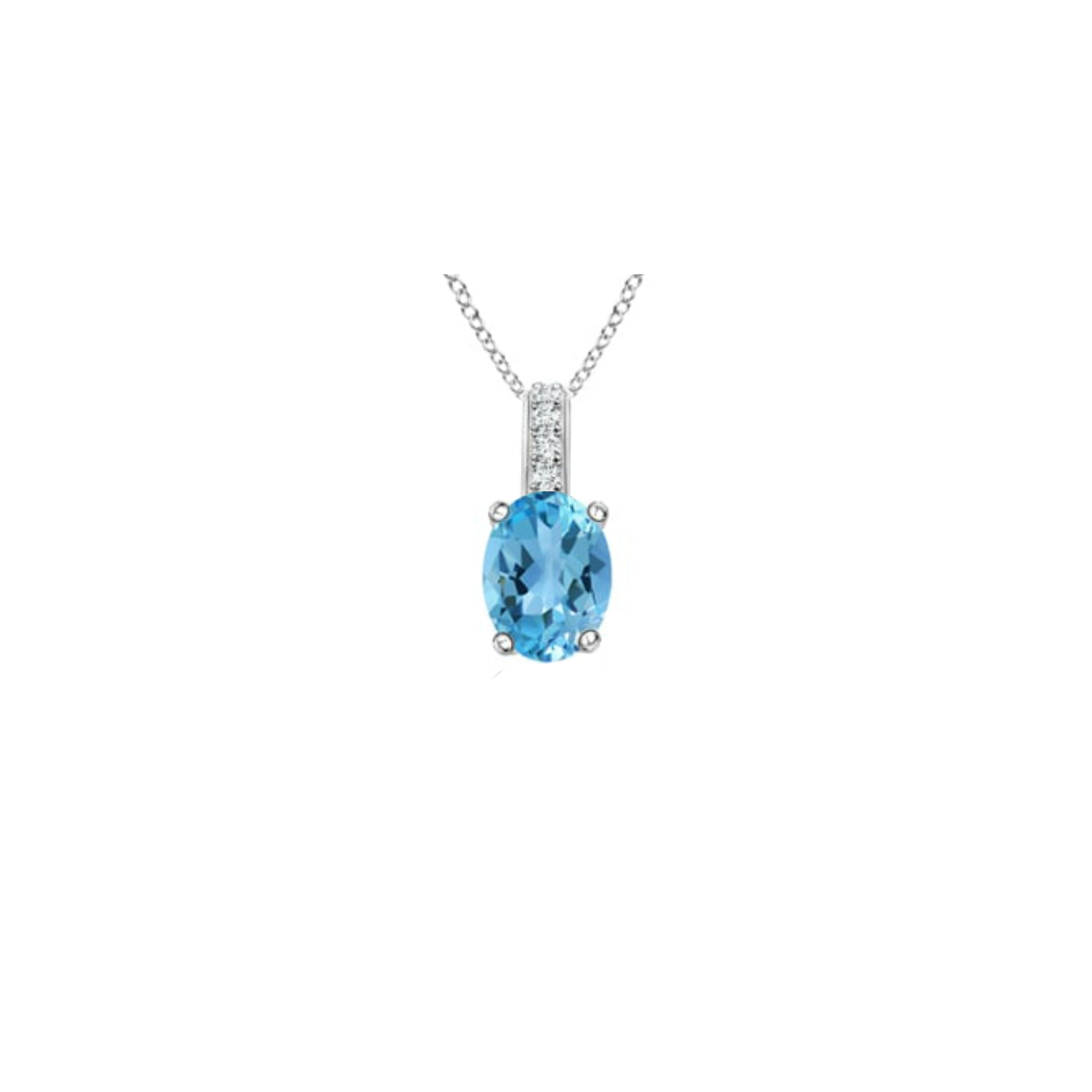 14k Oval Swiss Blue Topaz and Diamonds December Birthstone Necklace