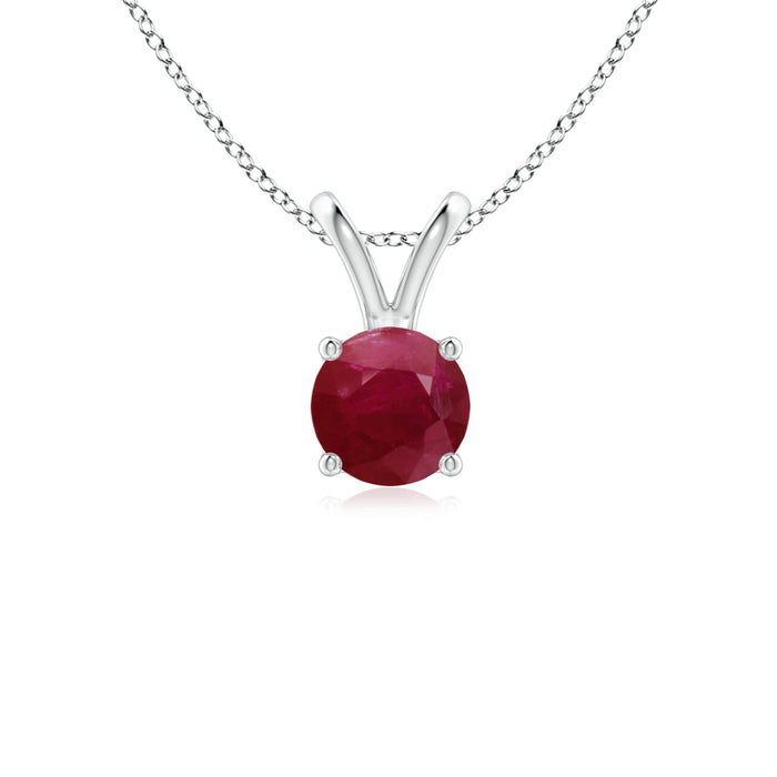 14k Gold and Ruby July Birthstone Solitaire Necklace