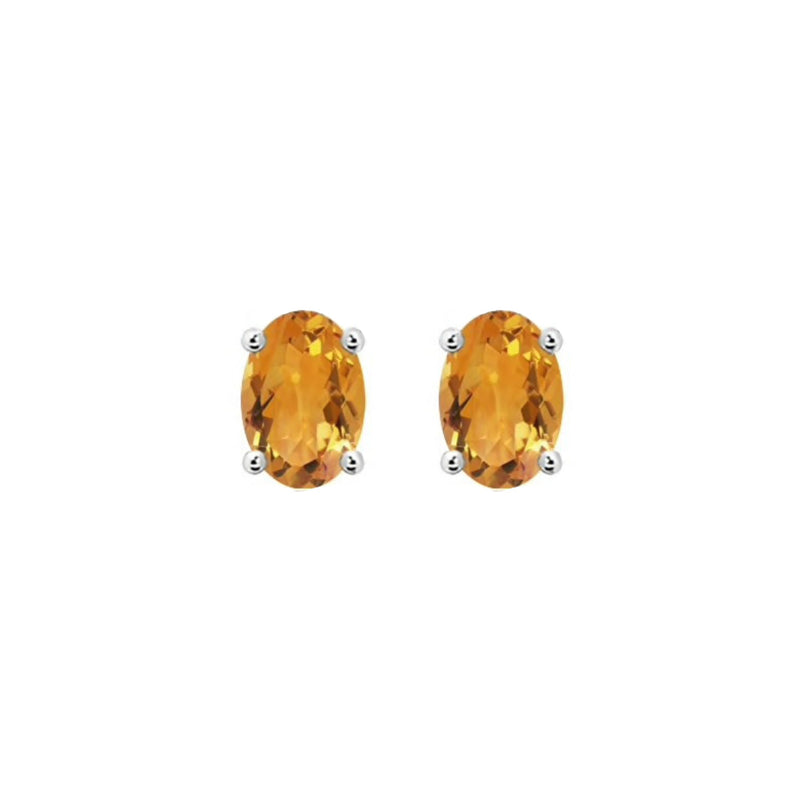 14k Oval Citrine November Stud Earrings