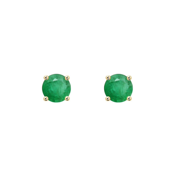 14k Round Emerald May Stud Earrings