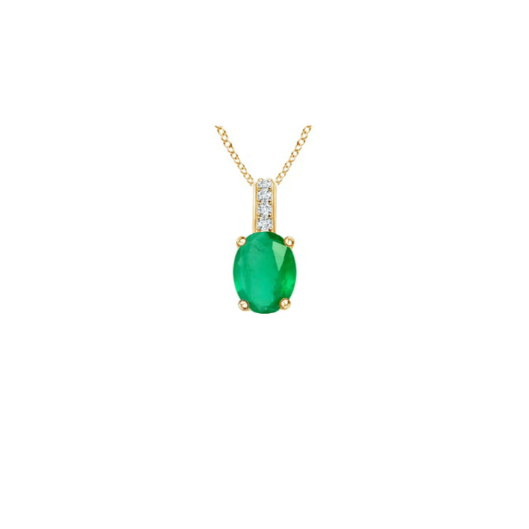 14k Oval Emerald and Diamonds May Birthstone Necklace