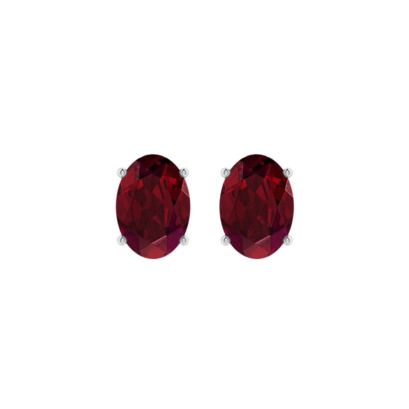 14k Oval Garnet January Stud Earrings