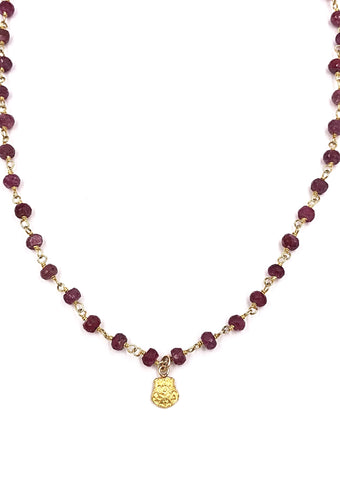 Vintage Chi Omega Crest Ruby Necklace