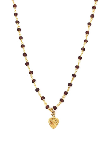 Vintage Alpha Phi Crest Garnet Necklace