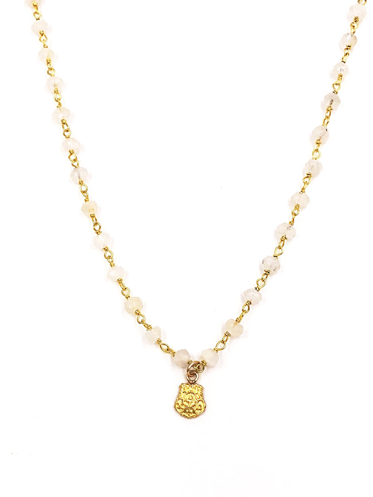 Vintage Chi Omega Crest Moonstone Necklace