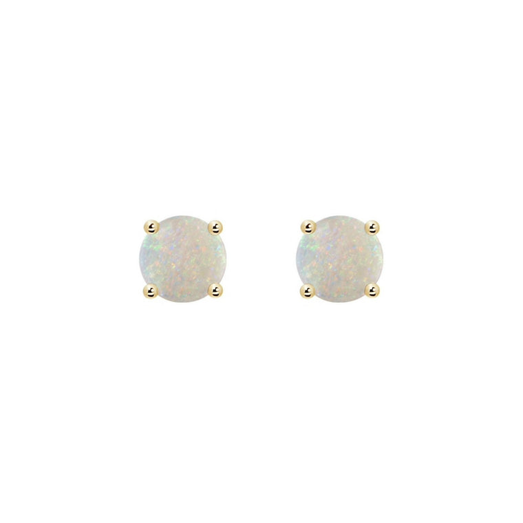 14k Round Opal October Stud Earrings