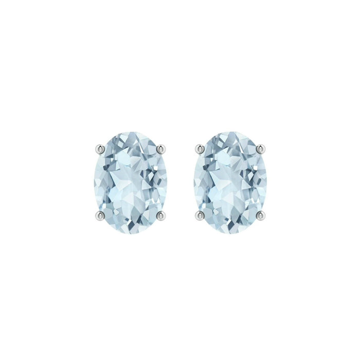14k Oval Aquamarine March Stud Earrings